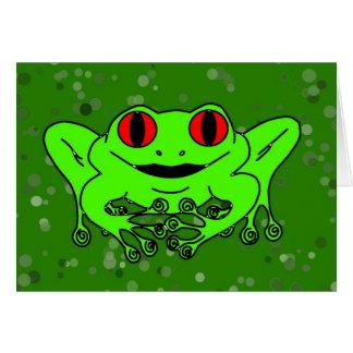 Grön groda hälsningskort