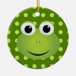 Grön grodaprydnad rund julgransprydnad i keramik