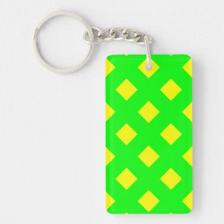 Grön gul mönsterdubbla sid nyckelringen
