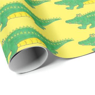 Grön gul sjal för alligatoralligatorCroc krokodil Presentpapper