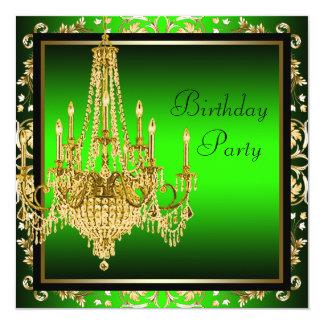 Grön guld- damastast ljuskronafödelsedagsfest för fyrkantigt 13,3 cm inbjudningskort