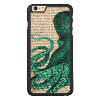 Grön halva för bläckfisk carved lönn iPhone 6 plus slim skal