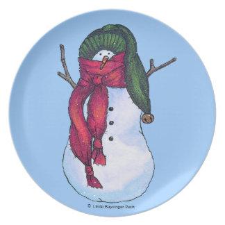 Grön hatt för snögubbe tallrik