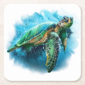 Grön havssköldpadda underlägg papper kvadrat
