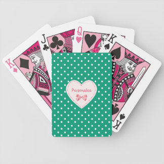 Grön hjärta för smaragd med namn spelkort