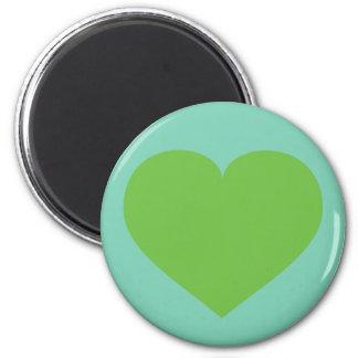 Grön hjärta för vår magnet rund 5.7 cm