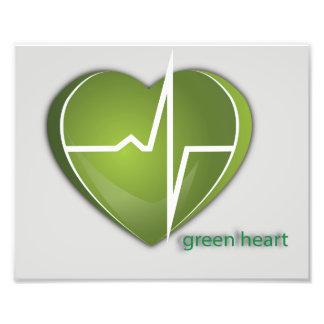 Grön hjärta fototryck