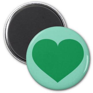 Grön hjärta magnet rund 5.7 cm
