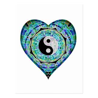 Grön hjärta Yin Yang för blått Vykort