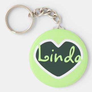 grön hjärtanamnkeychain rund nyckelring