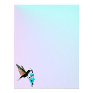 Grön Hummingbird-Blått blommar brevhuvudet Brevhuvud
