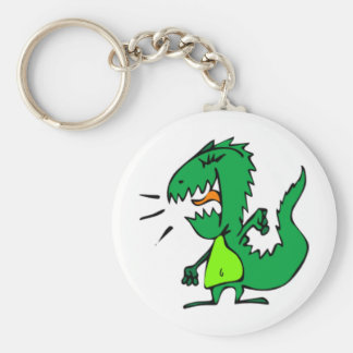 Grön ilsken Dinosaur Rund Nyckelring