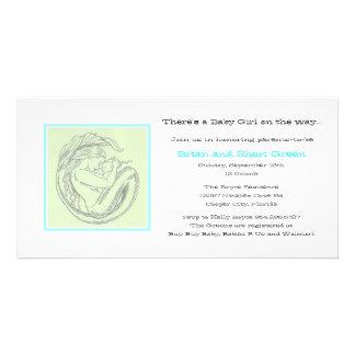 Grön inbjudan för sjöjungfruBBdusch Fotokort