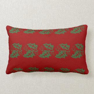 Grön järnekhelgdag som är röd och lumbarkudde