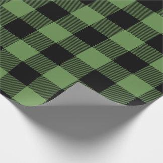 Grön jul & svart pläd för jumbobuffelkontroll presentpapper