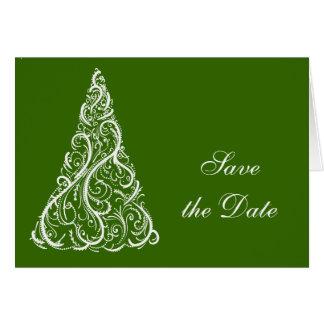 Grön julgranvinterbröllop spara datum hälsningskort