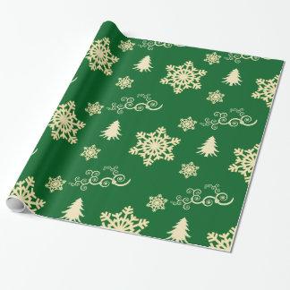 Grön julsjal med kräm- snöflingor presentpapper