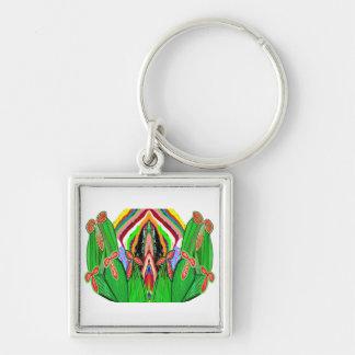 GRÖN kaktus - den Nameste lampan tänder Fyrkantig Silverfärgad Nyckelring