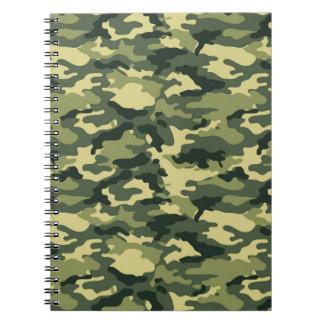 Grön kamouflagespiralanteckningsbok anteckningsbok