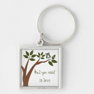 Grön kärlekuggla i träd nyckel ringar