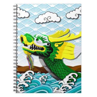 Grön kinesisk drake - fotoanteckningsbok anteckningsbok med spiral