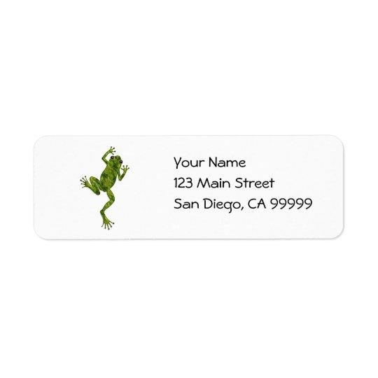Grön klättringträdgroda returadress etikett