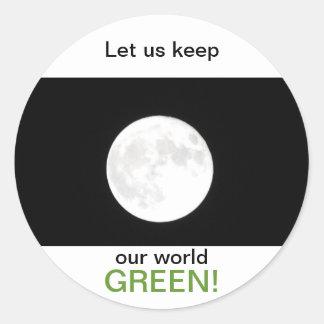 Grön klistermärke för månsken