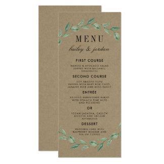Grön kran & modernt lantligt bröllop för typografi 10,2 x 23,5 cm inbjudningskort