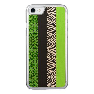 Grön Leopard för limefrukt och djurt tryck för Carved iPhone 7 Skal