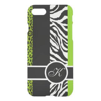 Grön leopard- och sebradjurMonogram för limefrukt iPhone 7 Skal