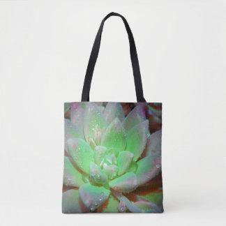 Grön lotusblomma med dagg tappar tygkasse