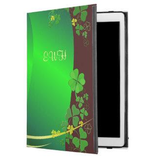 "Grön lycklig Shamrock din Monogram iPad Pro 12.9"" Skal"