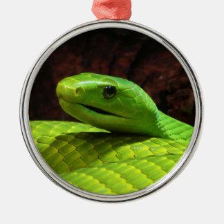 Grön MambaDendroaspis Angusticeps för östra Julgransprydnad Metall