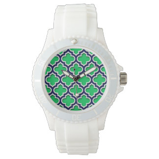 Grön marinvit marockanska Quatrefoil #5DS för Armbandsur