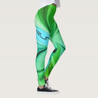 Grön marmorvattenfärg som joggar rinnande design leggings