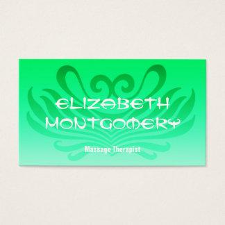 Grön massage - Spatidsbeställningsvisitkort Visitkort