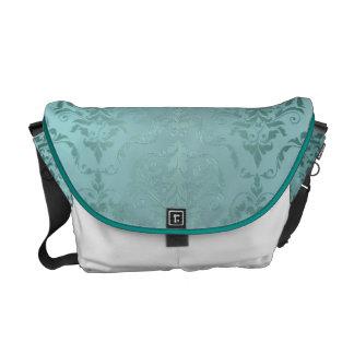 Grön metallisk damast för antikvitet kurir väska