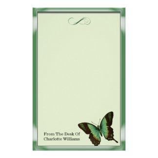 Grön metallisk fjäril brevpapper