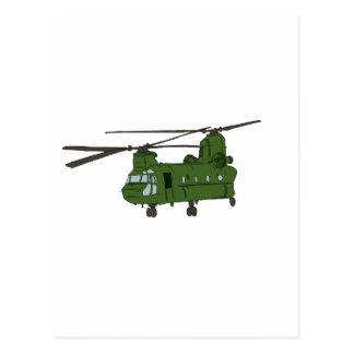 Grön militärhelikopter för Chinook CH-47 Vykort