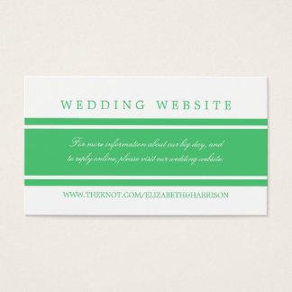 Grön modern bröllopWebsite för smaragd Visitkort