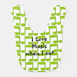 Grön musik noterbabyhaklapp hakklapp