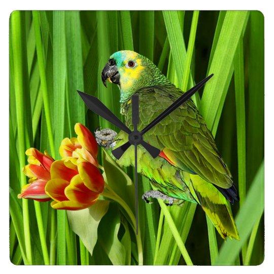 Grön natur med papegojan fyrkantig klocka