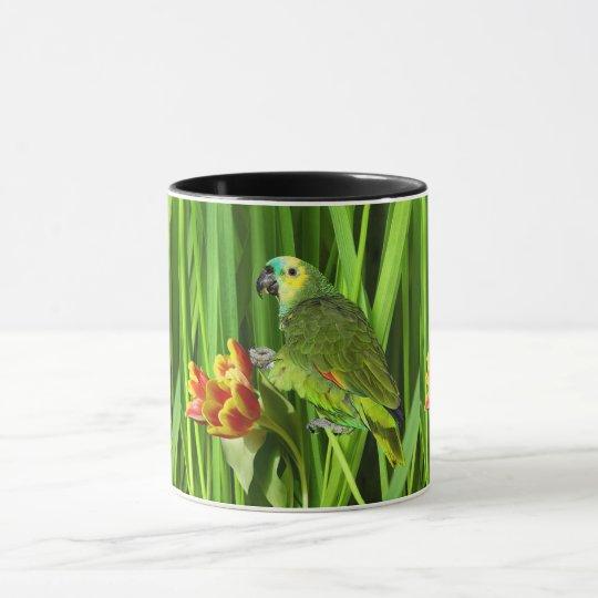 Grön natur med papegojan mugg