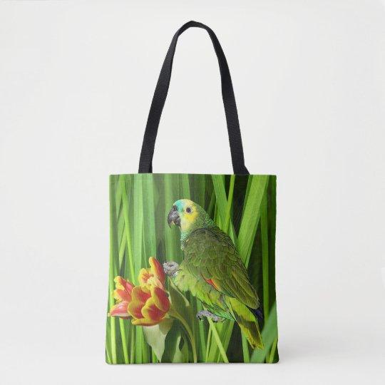 Grön natur med papegojan tygkasse