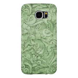 Grön neutralt för Egyption rullastruktur Samsung Galaxy S6 Fodral