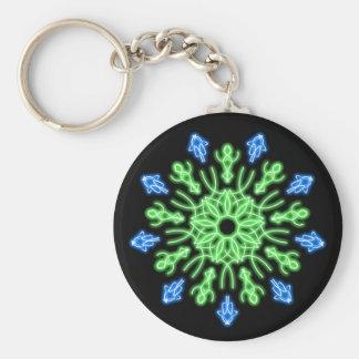 Grön och blåttneonblomma rund nyckelring