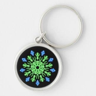 Grön och blåttneonblomma rund silverfärgad nyckelring