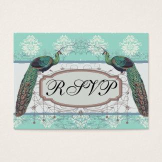 grön och kräm- påfågeldamast för aquamarine visitkort