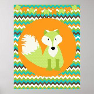 Grön och orange affisch för sparrerävbarnkammare poster
