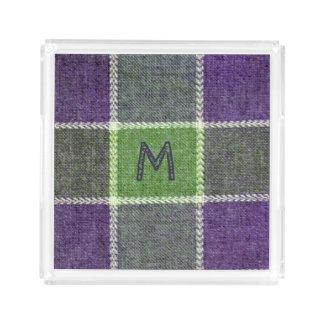 Grön och purpurfärgad Monogram för Bricka
